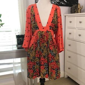 Vibrant free people kimono style dress